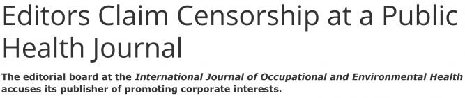 Editors Claim Censorship at a Public Health Journal